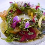 62種類の野菜や花による色鮮やかなお料理でテンションあがります☆「ラ・パール・デュー」