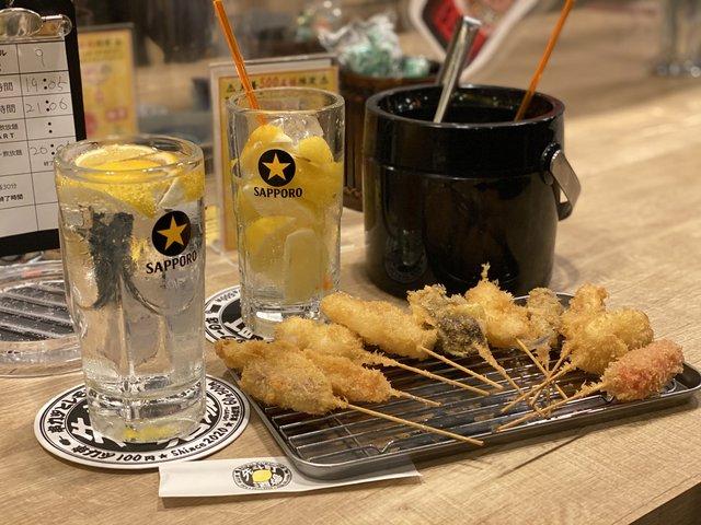 【京都居酒屋】先斗町・本格串カツと新感覚飲み放題『串カツとレモンサワー』