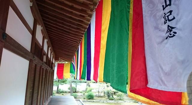 仏様の体を色で表した「仏旗」はためいてます。