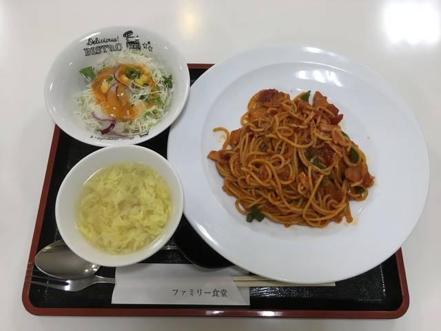 ナポリタン、スープ、サラダ