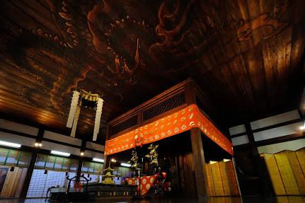 舎利殿内(重要文化財)天井 鳴き竜図: 狩野山雪