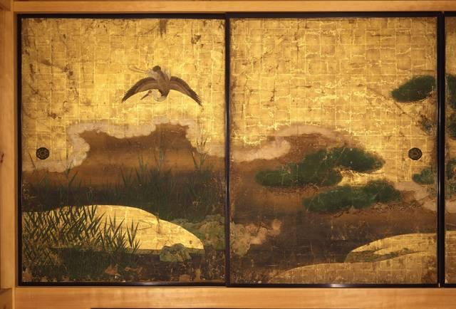 東福寺 光明宝殿 渡辺了慶筆「柳松遊禽図」