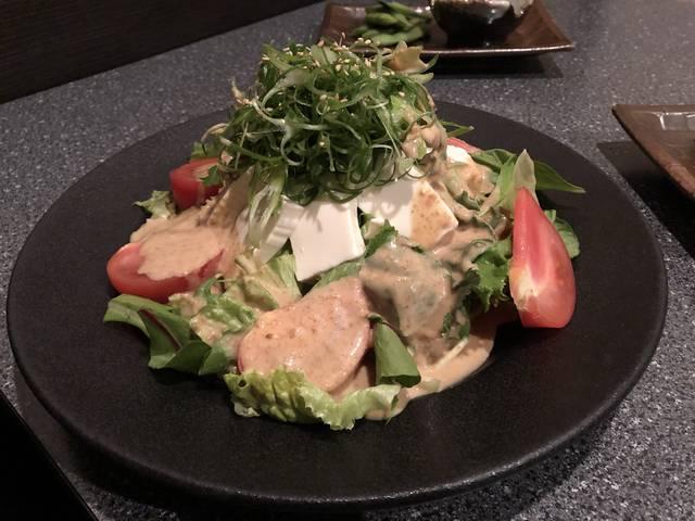 九条ネギと豆腐の金胡麻サラダサラダ