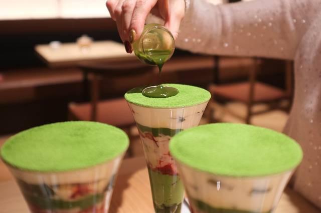 京都四条店限定の「京菓抹茶パフェ」