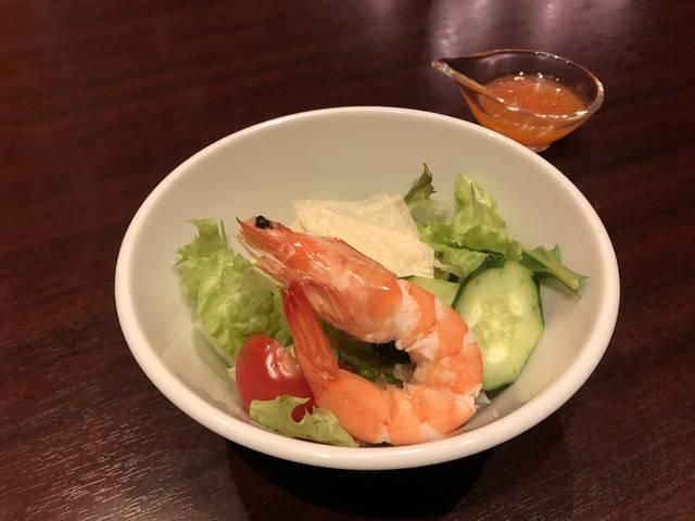◉ボイル海老と生湯葉の野菜のサラダ